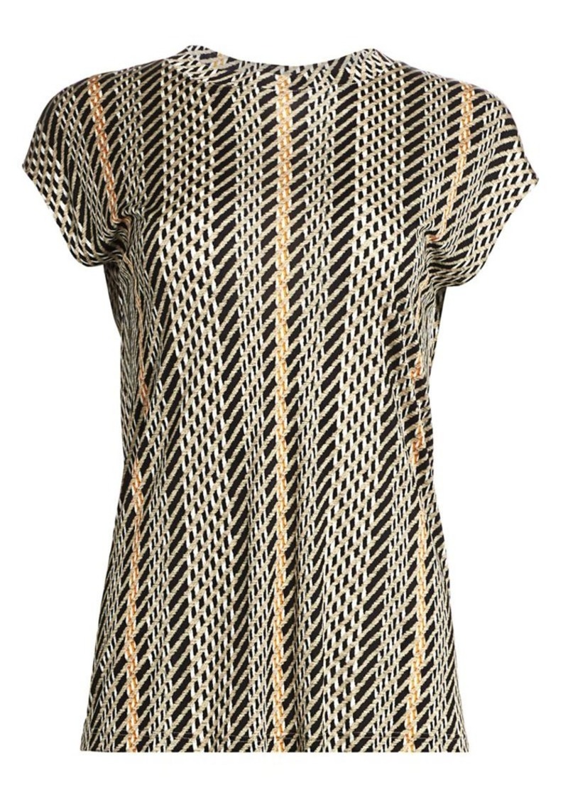 Akris Tweed Print Silk Tunic