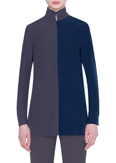 Akris Two-Tone Silk Blouse