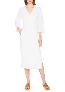 Akris V-Neck Bell-Sleeve Double-Face Wool Dress w/ Side Slit