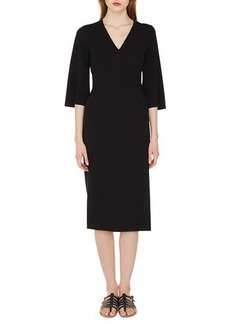 Akris V-Neck Bell-Sleeve Double-Face Wool Dress w/ Side Slit