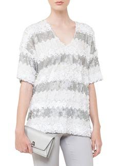 Akris V-Neck Elbow-Sleeve Sequin Stripes Top