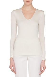 Akris V-Neck Long-Sleeve Cashmere-Silk Jersey Top
