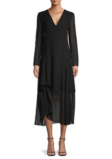 Akris V-Neck Silk Midi Dress