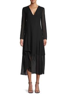 Akris Long-Sleeve Silk Midi Dress
