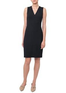 Akris V-Neck Sleeveless Wool-Crepe Sheath Dress