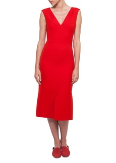 Akris V-Neck Sleeveless Wool-Silk Midi Dress