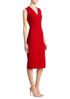 Akris V-Neck Slit Wool Sheath Dress