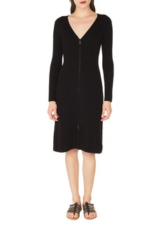 Akris V-Neck Zip-Front Long-Sleeve Rib-Knit Dress