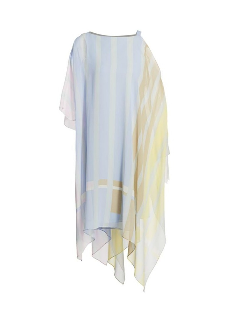 Akris Variazoni Silk Handkerchief Shirt Dress