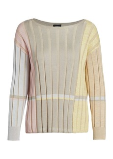 Akris Variazoni Striped Silk & Linen Knit Sweater