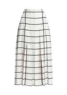 Akris Windowpane Check Pleated Midi Skirt