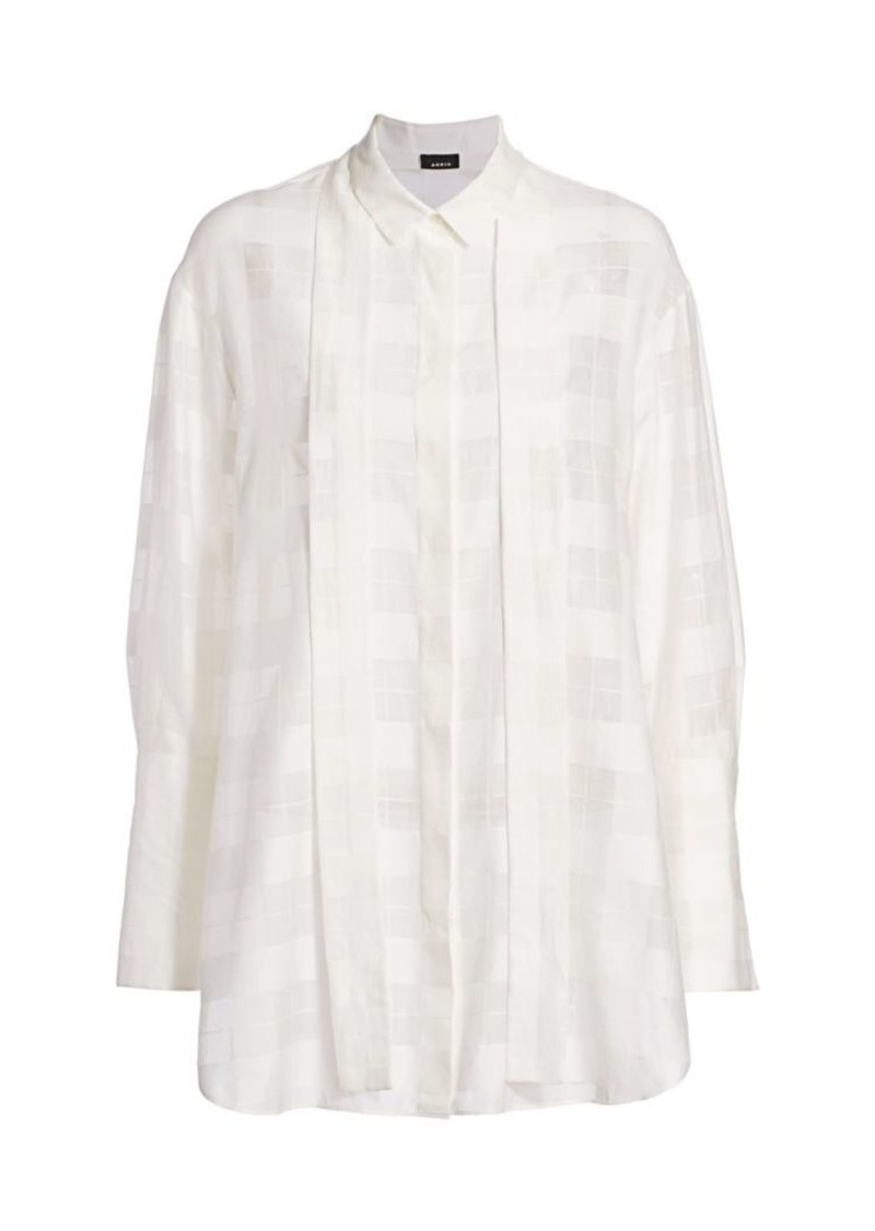 Akris Windowpane Cotton & Silk Collared Blouse
