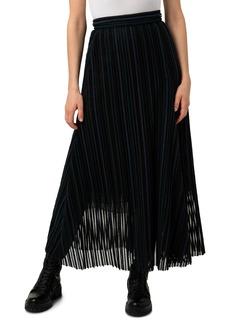 Women's Akris Embroidered Stripe Wool & Cotton Blend Tulle Skirt