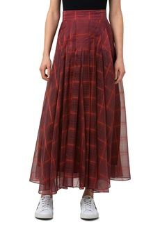 Women's Akris Plaid Pleated Silk Organza Skirt