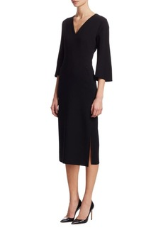 Akris Wool Flared-Sleeve Sheath Dress