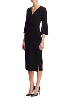 Akris Wool Flared-Sleeve Sheath Dress