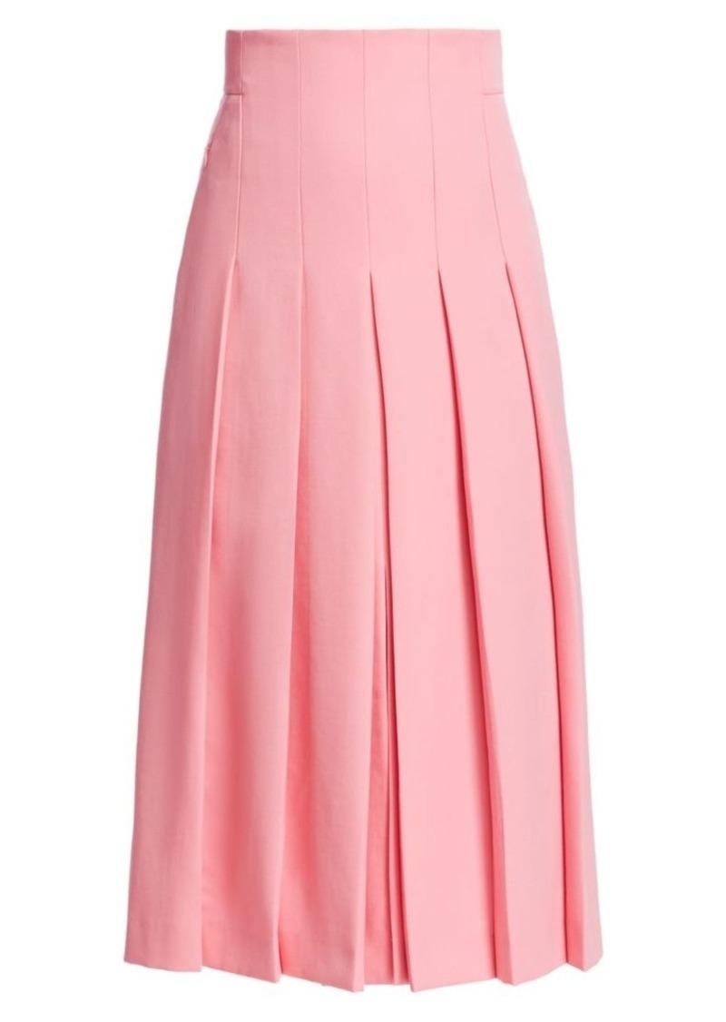 Akris Wool Twill Pleat Front Skirt