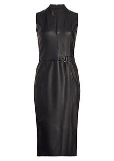 Akris Wrap Effect Leather Dress