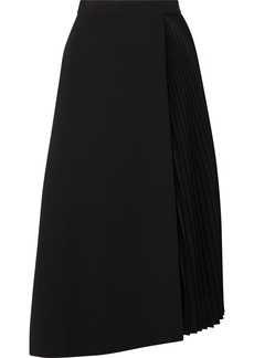 Akris Wrap-effect Wool-blend And Pleated Satin Midi Skirt