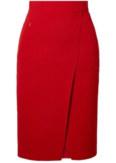 Akris Wrap-effect Wool-crepe Skirt