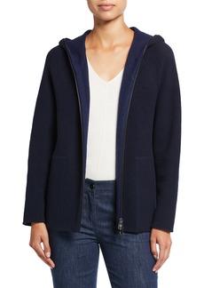 Akris Zip-Front Wool-Blend Techno Jersey Hoodie