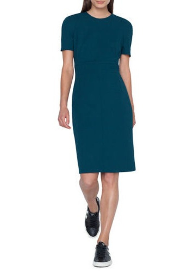 Akris Zip-Waist Short-Sleeve Wool Sheath Dress