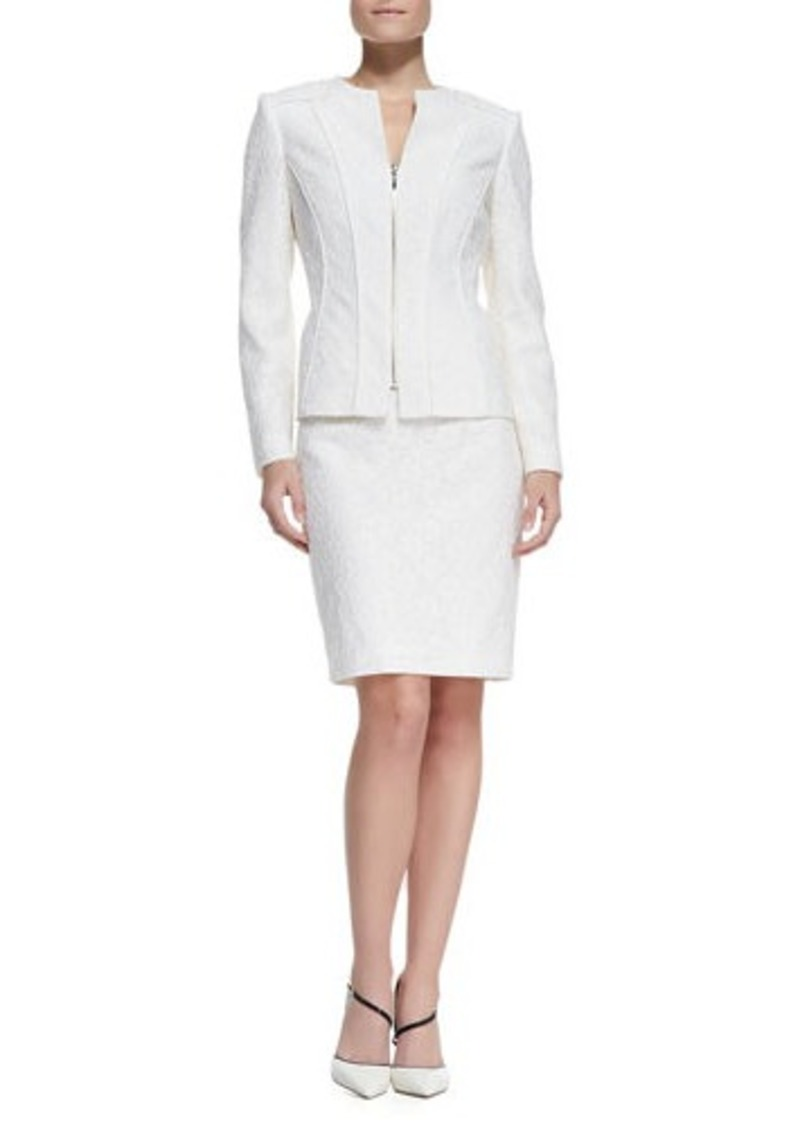 Albert Nipon Bonded Lace Jacket & Skirt Suit, Ivory