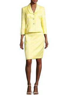 Albert Nipon Floral Jacquard Jacket w/ Pencil Skirt