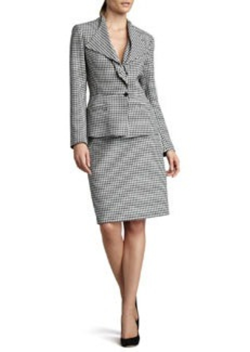 Albert Nipon Houndstooth Drape-Collar Suit