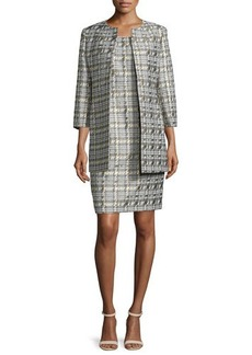 Albert Nipon Houndstooth Jacquard Jacket & Sheath Dress Set