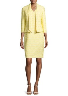 Albert Nipon Jacquard Jacket & Matching Sheath Dress Set