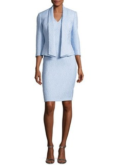 Albert Nipon Jacquard Sheath Dress w/ 3/4-Sleeve Jacket