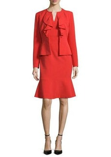 Albert Nipon Long-Sleeve Ruffle-Front Dress Suit