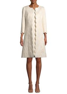 Albert Nipon Metallic Floral-Jacquard Dress w/ Scalloped Coat