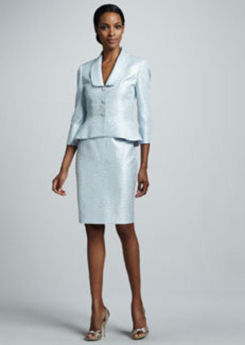 Albert Nipon Metallic Jacquard Skirt Suit