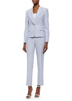 Albert Nipon Seersucker Striped Two-Piece Pant Suit
