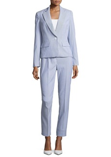 Albert Nipon Seersucker Striped Two-Piece Pant Suit