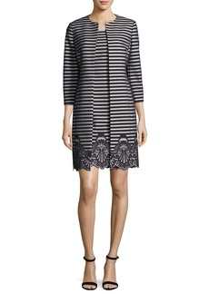 Albert Nipon Striped A-Line Dress w/ Matching Jacket