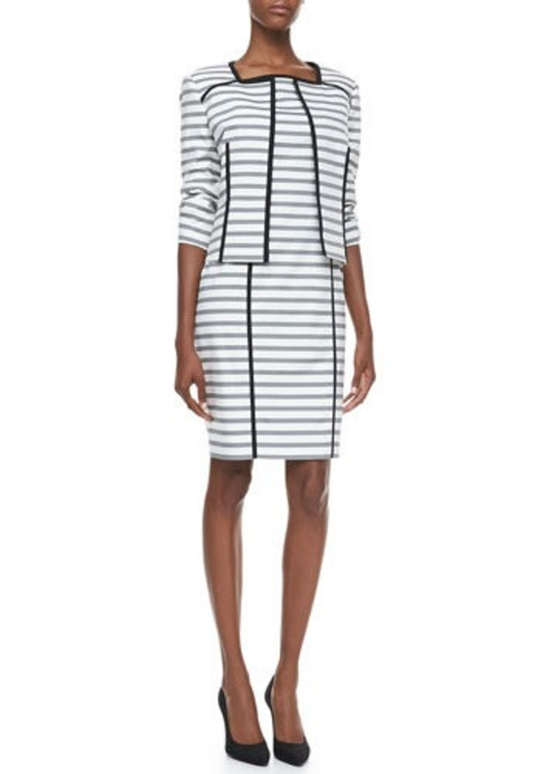 Albert Nipon Striped Jacket & Sheath Dress