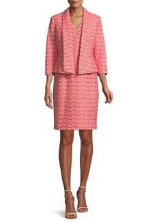 Two-Piece Wavy Jacquard Jacket & Dress Suit Set