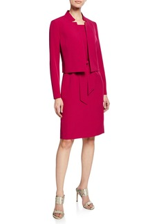 Albert Nipon Belted Sheath Dress W/Matching Jacket  Raspberry