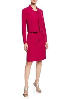 Albert Nipon Belted Sheath Dress W/Matching Jacket  Raspberry