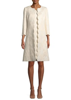 Albert Nipon Metallic Floral-Jacquard Dress with Scalloped Coat