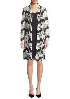 Albert Nipon Sleeveless Dress w/ Two-Tone Floral Lace Jacket Set