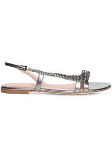 Alberta Ferretti 10mm Embellished Metallic Leather Sandal