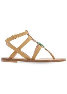Alberta Ferretti 10mm Embellished Suede Flat Sandals