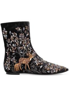 Alberta Ferretti 5mm Embroidered Velvet Ankle Boots