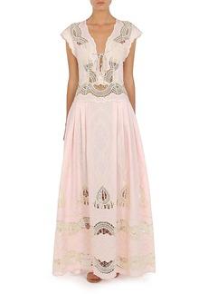 Alberta Ferretti - Women's Lace-Embroidered Chambray Gown - Pink - Moda Operandi
