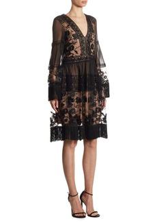 Alberta Ferretti Deep V-Neck Dress