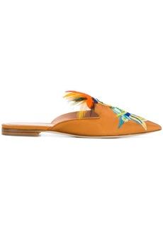 Alberta Ferretti embroidered parrot slippers - Yellow & Orange